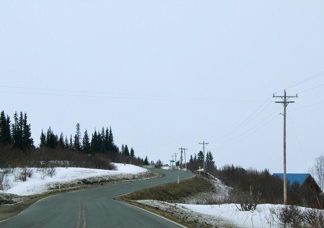 A road in the village of Kachemak, Alaska