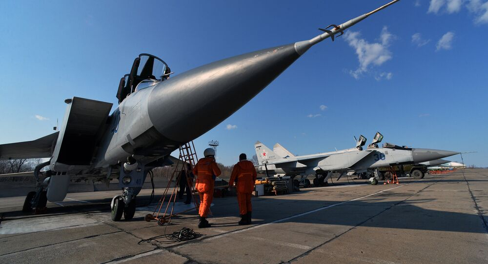 The pre-flight preparation of the Mikoyan MIG-31, a supersonic all-weather long-range interceptor jet, before an exercize of a MIG-31 flight, which is part of the aviation regiment of the Pacific Fleet's Kamchatka air base in Prymorye Territory