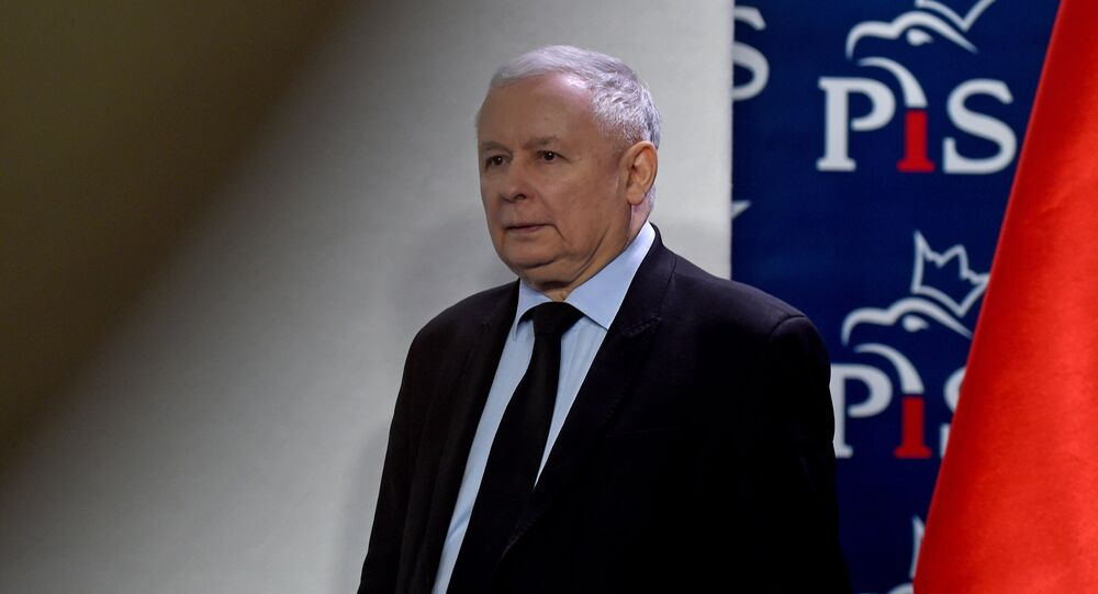 The leader of Poland's governing right-wing Law and Justice (PiS) party Jaroslaw Kaczynski arrives to give a press conference in Warsaw on March 13, 2017