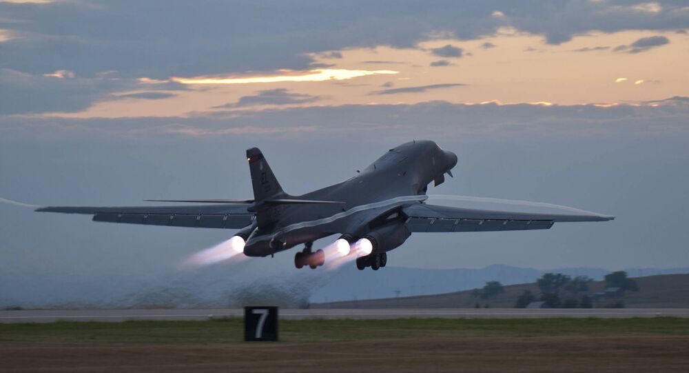 A US B-1 Lancer bomber taking off (file photo)