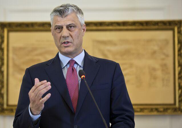 Kosovo President Hashim Thaci during a press conference in capital Pristina, Kosovo. File photo