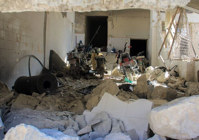 A picture taken on April 4, 2017 shows destruction at a hospital in Khan Shaykhun in the northwestern Syrian Idlib province, following a suspected toxic gas attack.