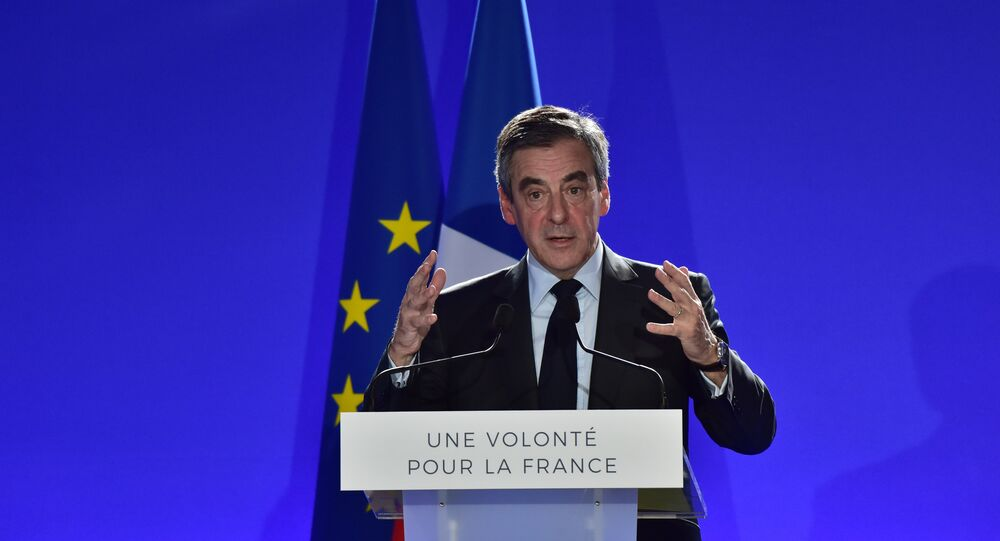 French presidential election candidate for the right-wing Les Republicains (LR) party Francois Fillon presents his project for Europe at his campaign headquarters in Paris