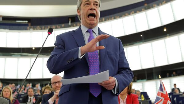 Nigel Farage, United Kingdom Independence Party (UKIP) member and MEP, addresses the European Parliament during a debate on Brexit priorities and the upcomming talks on the UK's withdrawal from the EU, in Strasbourg, France, April 5, 2017. - Sputnik International