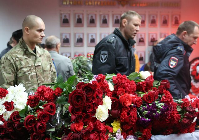 A ceremony to pay last respects to the police officers killed in Astrakhan