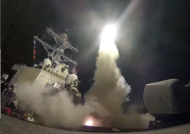 In this image from video provided by the U.S. Navy, the guided-missile destroyer USS Porter (DDG 78) launches a tomahawk land attack missile in the Mediterranean Sea, Friday, April 7, 2017.