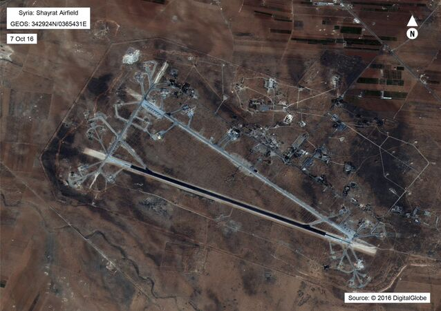This Oct. 7, 2016 satellite image released by the U.S. Department of Defense shows Shayrat air base in Syria. The United States blasted a Syrian air base with a barrage of cruise missiles on Friday, April 7, 2017 in fiery retaliation for this week's gruesome chemical weapons attack against civilians.