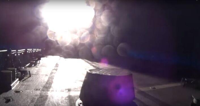 Arleigh Burke-class destroyer Firing a Tomahawk missile