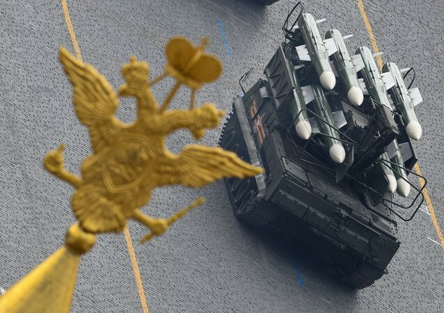 Buk-M2 missile system during a full dress rehearsal of the V-Day Parade on Red Square, Moscow