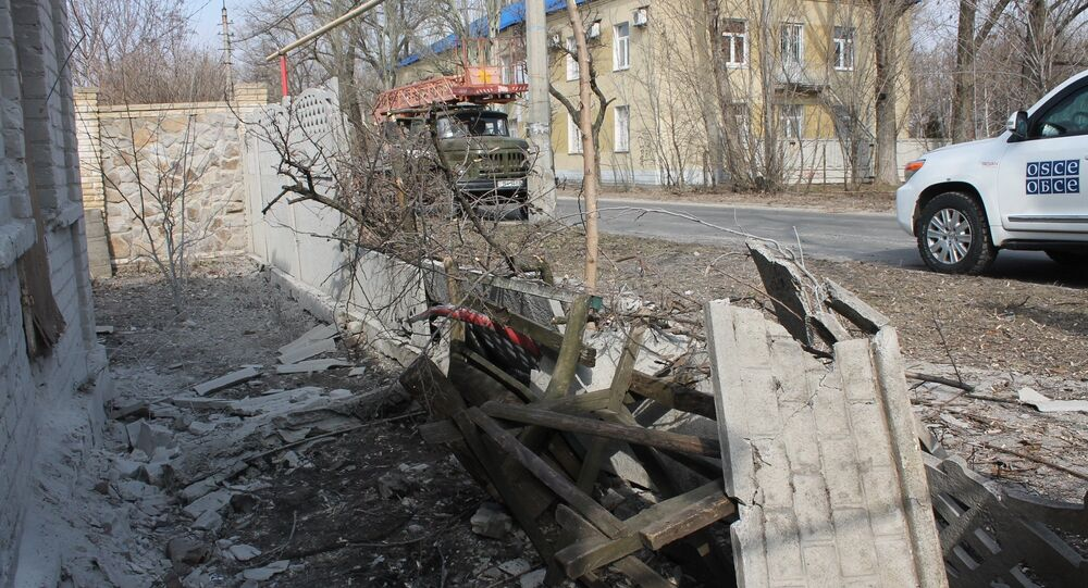 Aftermath of shelling in the town of Luganskoye in the Donetsk Region. File photo