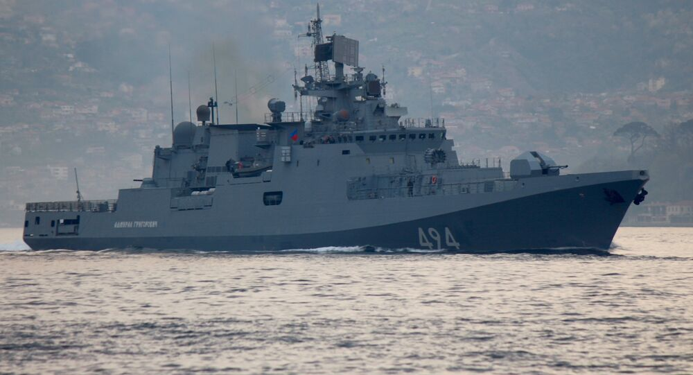 The Russian Navy's frigate Admiral Grigorovich sails in the Bosphorus on its way to the Mediterranean Sea, in Istanbul, Turkey April 7, 2017