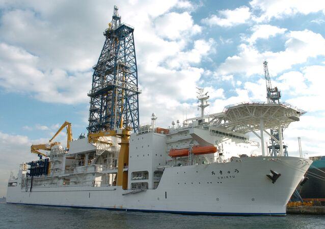 In this photo released from China's Xinhua news agenycy, the deep-sea drilling vessel Chikyu (the Earth in Japanese) makes its first public appearance in Yokohama, Japan, on Thursday December 15, 2005