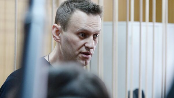 Politician Alexei Navalny during a hearing at Moscow's Tverskoi District Court as the court considers the administrative case against Navalny over organization of an unauthorized rally in downtown Moscow - Sputnik International
