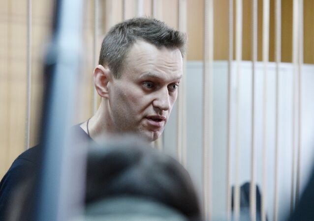Politician Alexei Navalny during a hearing at Moscow's Tverskoi District Court as the court considers the administrative case against Navalny over organization of an unauthorized rally in downtown Moscow