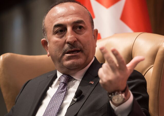 Turkish Foreign Minister Mevlut Cavusoglu speaks during a discussion on Turkey-US Strategic Partnership: Looking to the Future at the National Press Club in Washington, DC, on March 21, 2017