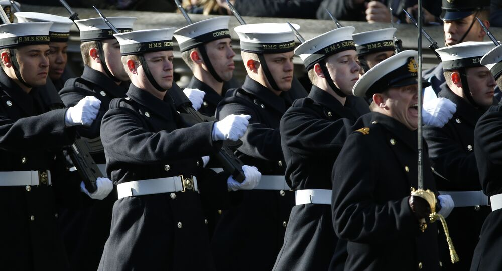 Members of the Royal Navy march on to Whitehall as they take past in the Remembrance Sunday service at the Cenotaph in London, Sunday, Nov. 13, 2016.