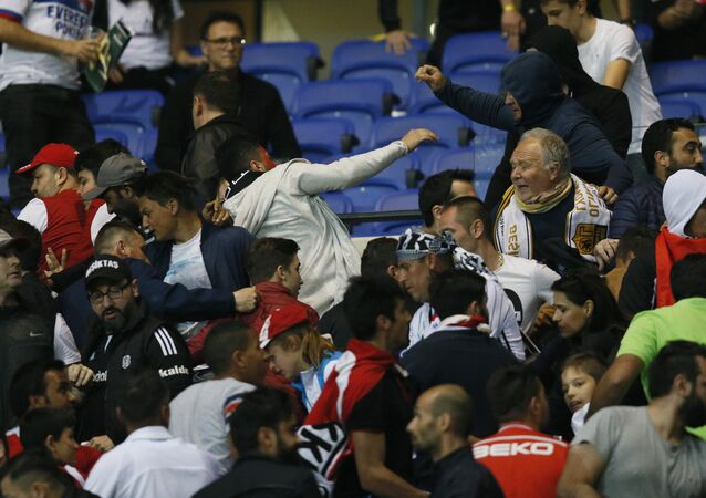 Besiktas and Lyon football fans clash in the stands, 2017