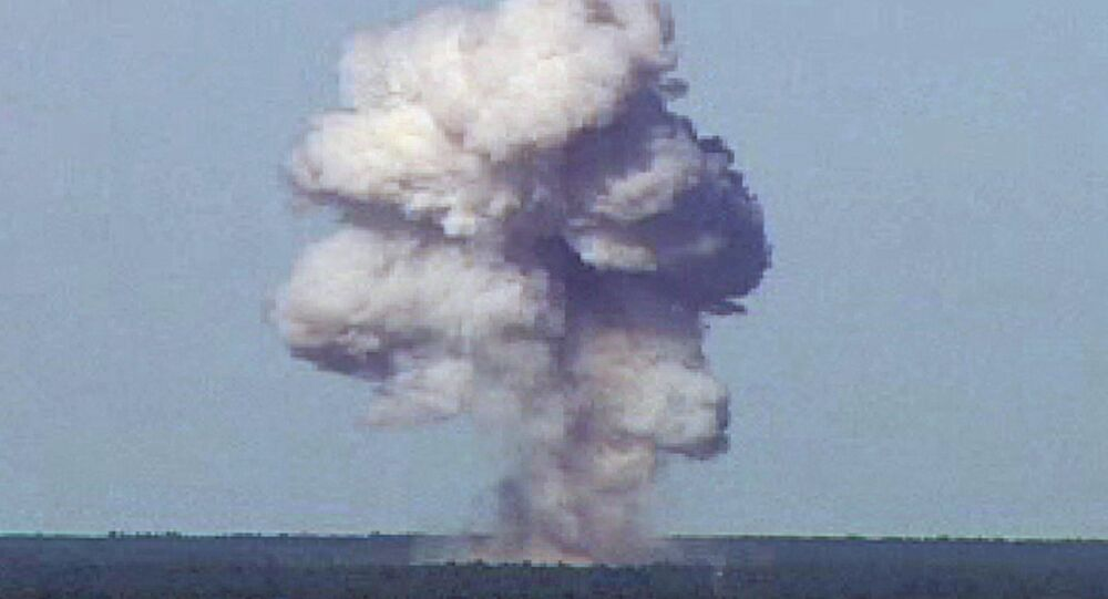 The GBU-43/B, also known as the Massive Ordnance Air Blast, detonates during a test at Elgin Air Force Base, Florida, U.S., November 21, 2003 in this handout photo provided April 13, 2017.