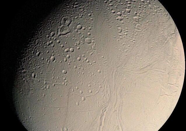 Small inner moon of Saturn, Enceladus seen here in a mosaic of Voyager 2. (File)