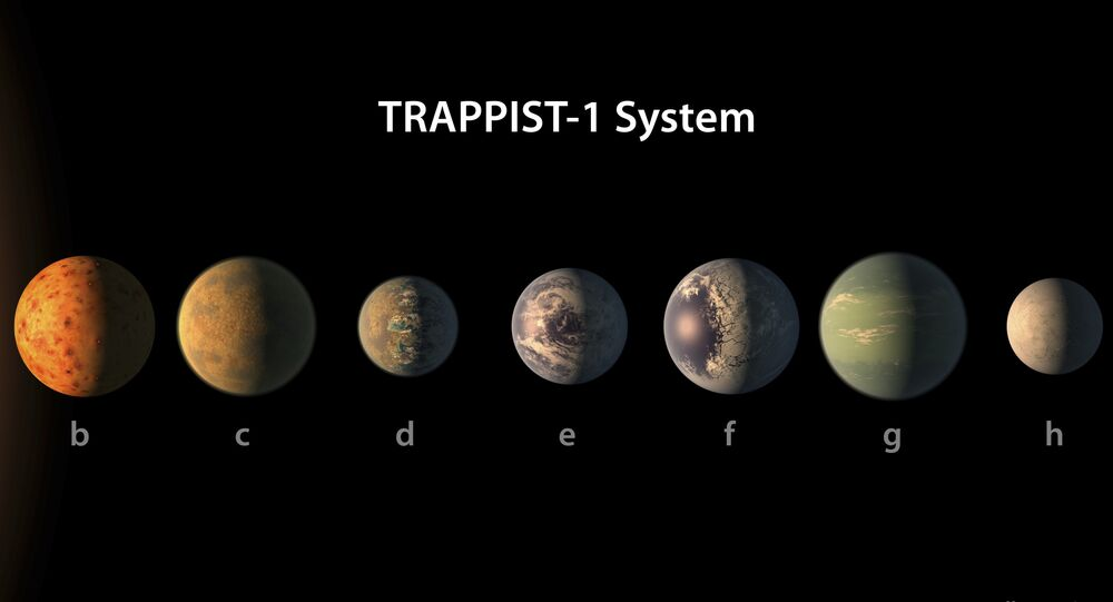 Artist's conception of what the TRAPPIST-1 planetary system may look like, based on available data about their diameters, masses and distances from the host star