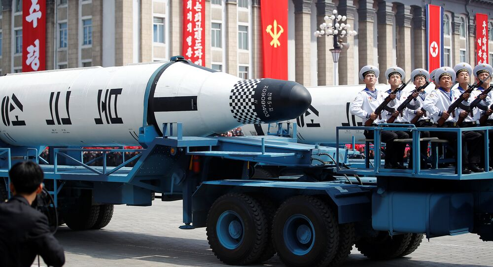 Military vehicles carry missiles with characters reading 'Pukkuksong' during a military parade marking the 105th birth anniversary of country's founding father, Kim Il Sung in Pyongyang, North Korea April 15, 2017.