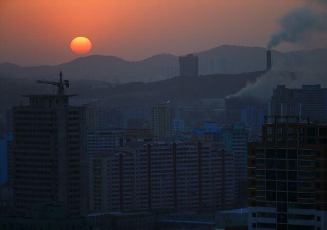 The sun set in Pyongyang, North Korea April 12, 2017.