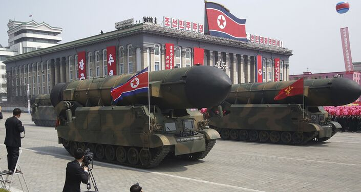 Missiles are paraded across Kim Il Sung Square during a military parade Saturday, April 15, 2017, in Pyongyang, North Korea, to celebrate the 105th birth anniversary of Kim Il Sung, the country's late founder and grandfather of current ruler Kim Jong Un.
