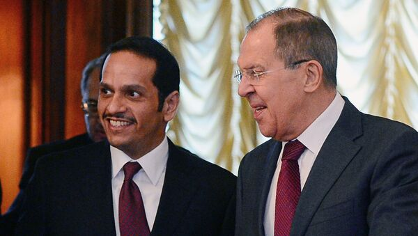 Qatar's Foreign Minister Sheikh Mohammed bin Abdulrahman bin Jassim Al-Thani and Russian Foreign Minister Sergey Lavrov - Sputnik International