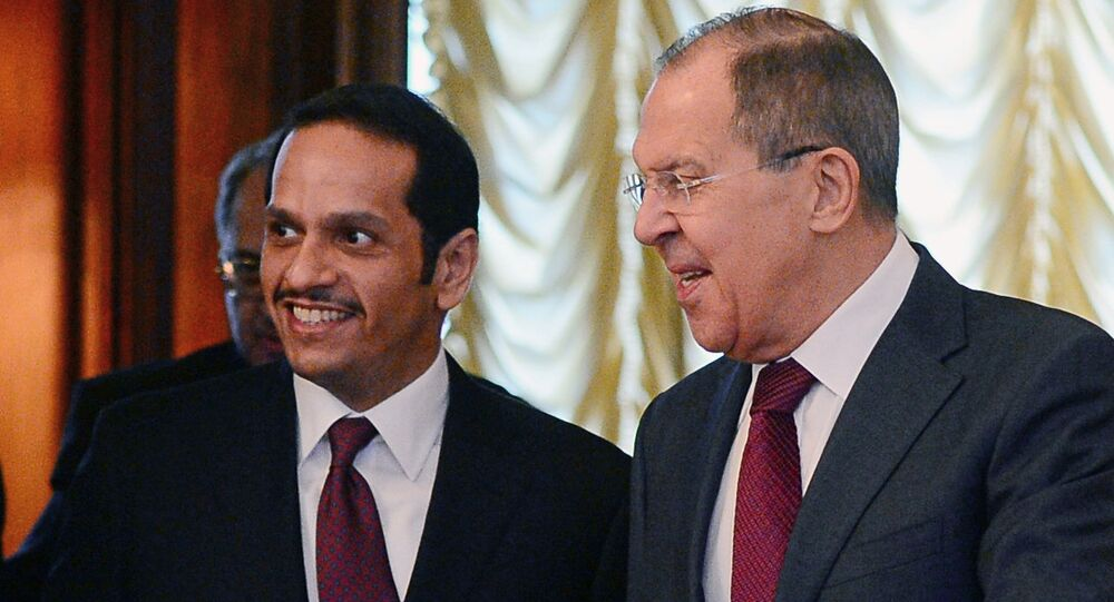 Qatar's Foreign Minister Sheikh Mohammed bin Abdulrahman bin Jassim Al-Thani and Russian Foreign Minister Sergey Lavrov