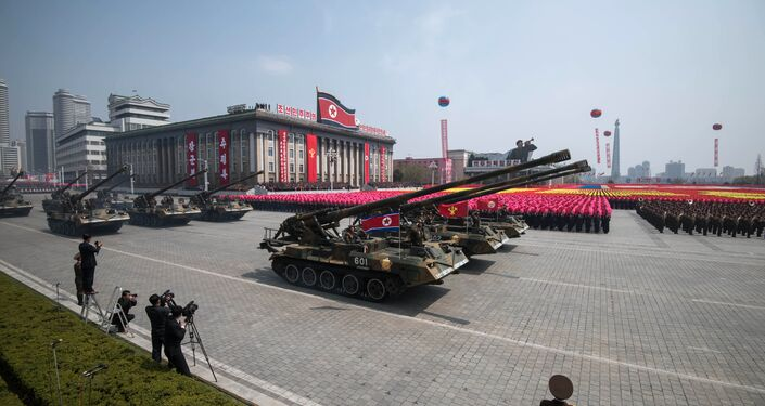 Korean People's Army (KPA) tanks are displayed on Kim Il-Sung square during a military parade marking the 105th anniversary of the birth of late North Korean leader Kim Il-Sung in Pyongyang on April 15, 2017.