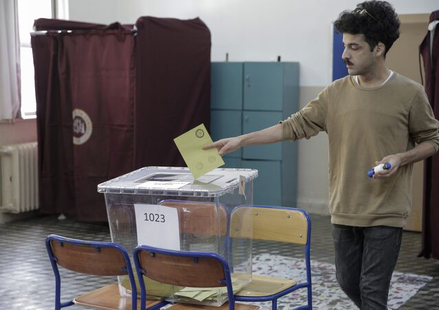 Voting at a polling station during the referendum in Istanbul