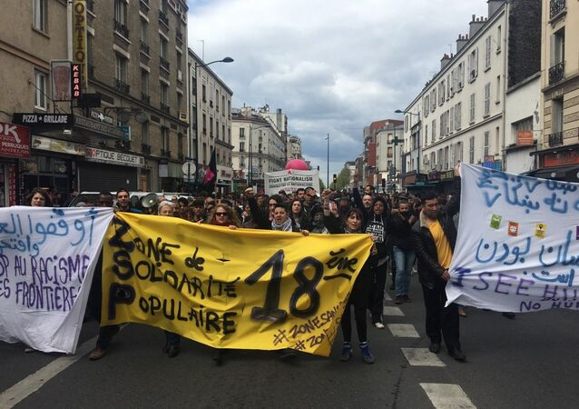 Demonstration in Aubervilliers, outside Paris, on the eve of a campaign meeting of French presidential election candidate for the far-right Front National (FN) party that is to take place at the nearby Zenith venue in Paris