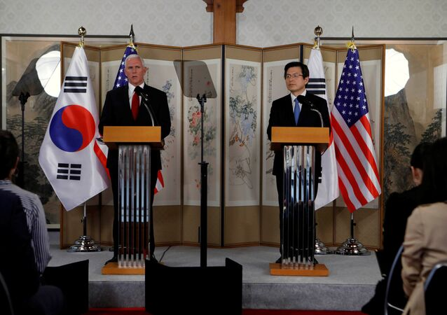 U.S. Vice President Mike Pence speaks beside acting South Korean President and Prime Minister Hwang Kyo-ahn during a news conference in Seoul, South Korea, April 17, 2017