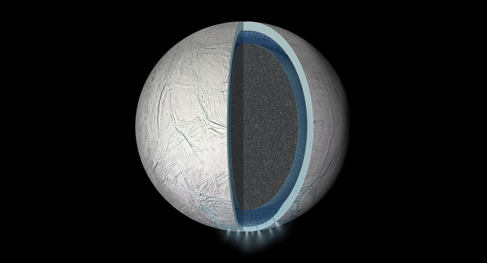 Illustration of the interior of Saturn's moon Enceladus showing a water ocean between the rocky core and icy crust. Thickness of layers shown here is not to scale.