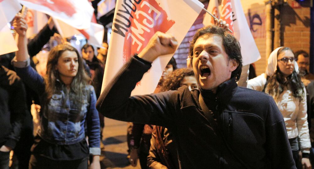 People protest against the results of the referendum in Istanbul, Turkey April 16, 2017