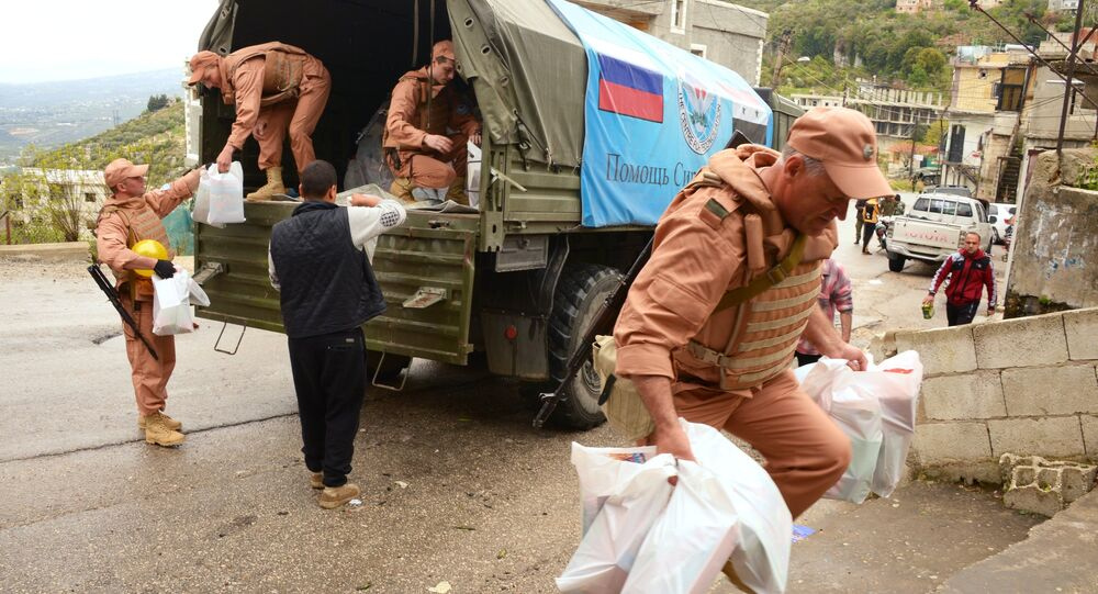 Russia sent humanitarian aid, timed to coincide with Orthodox Easter celebrations, to the residents of the Orthodox town of Muhradah in Syria's western-central Hama Governorate.