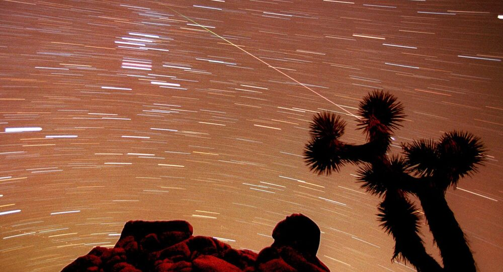 a meteor streaks through the sky over Joshua trees and rocks at Joshua Tree National Park in Southern California's Mojave Desert