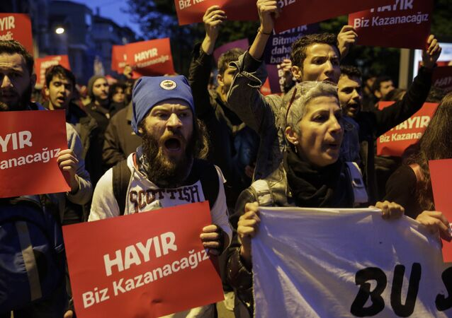 Protest following the results in a nationwide referendum in Istanbul