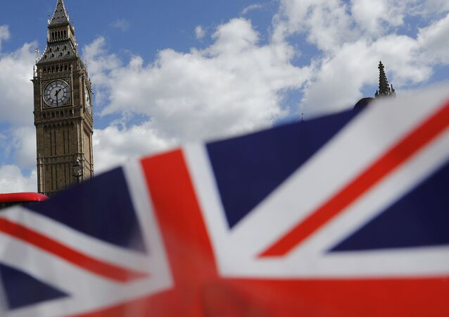 A union flag is seen near the Houses of Parliament in London, Britain April 18, 2017.