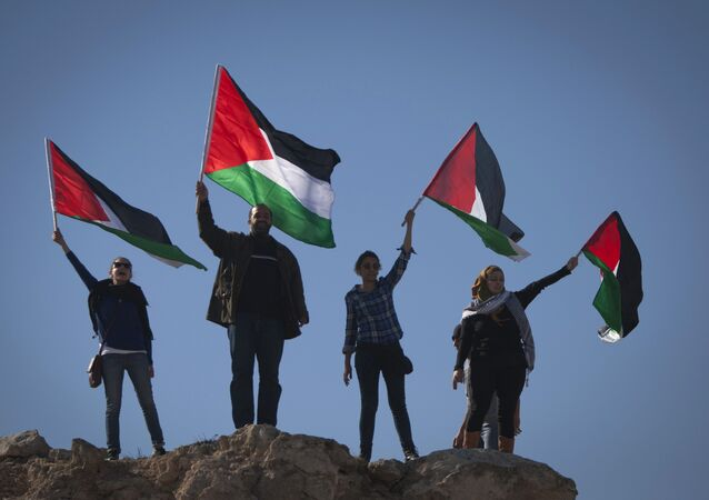 Palestinians wave national flags during a protest