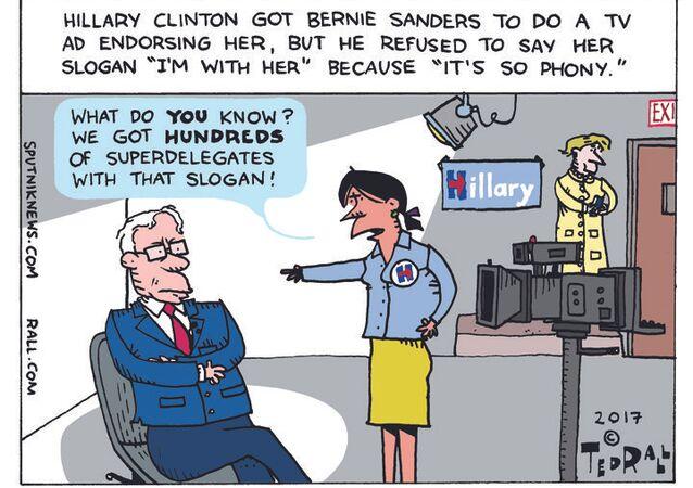 Bernie I'm With Her Cartoon