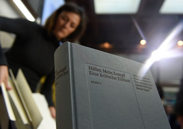 A copy of an annotated version of Adolf Hitler's book Mein Kampf is pictured prior to a press conference for it's presentation in Munich, southern Germany, on January 8, 2016