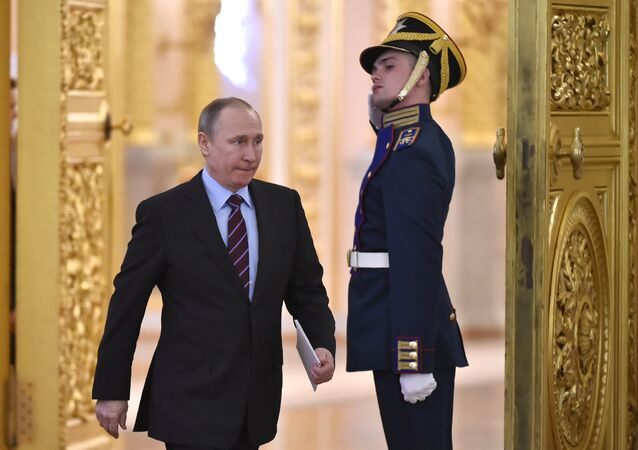 Russia's President Vladimir Putin arrives to chair a meeting of the Pobeda (Victory) Organising Committee at the Kremlin in Moscow on April 20, 2017