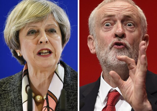 A combination of pictures created in London on April 18, 2017 shows British Prime Minister and Conservative Party leader Theresa May (L) speaking at a press conference during a European Summit at the EU headquarters in Brussels on March 9, 2017 and Britain's main opposition Labour Party leader Jeremy Corbyn (R) speaking on the fourth day of the annual Labour Party conference in Liverpool, north west England on September 28, 2016.