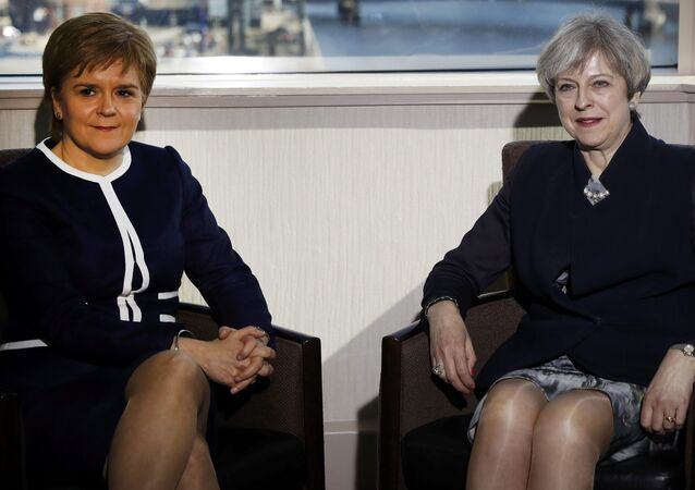 Britain's Prime Minister Theresa May and Scotland's First Minister Nicola Sturgeon meet in a hotel in Glasgow, Scotland, March 27, 2017.