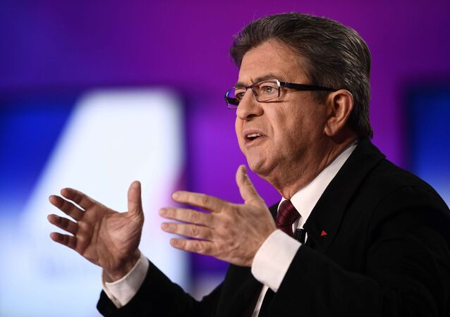 Jean-Luc Melenchon of the French far left Parti de Gauche and candidate for the 2017 French presidential election, reacts in the studios of France 2 television station during the special prime time political show, 15min to Convince in Saint-Cloud, near Paris, France, April 20, 2017.