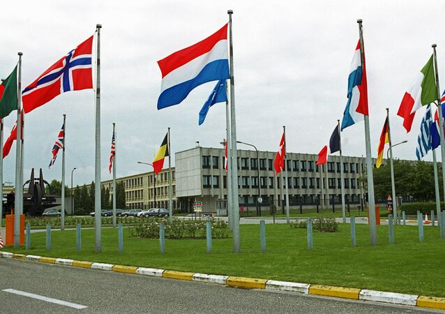 NATO member states' flags outside the European headquarters of the North Atlantic Treaty Organization in Brussels. (File)