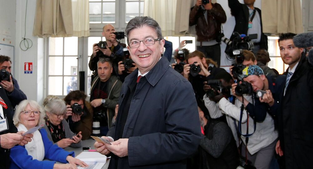 Jean-Luc Melenchon, candidate of the French far-left Parti de Gauche and candidate for the French 2017 presidential election, casts his ballot in the first round of 2017 French presidential election at a polling station in Paris, France, April 23, 2017.
