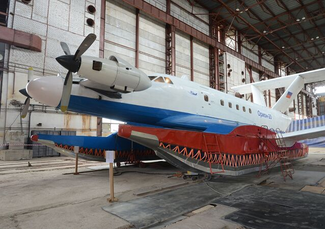 The Orion 20 wing-in-ground effect aircraft at the Ground-Effect Craft Center set up on the base of the Avangard Shipyard.