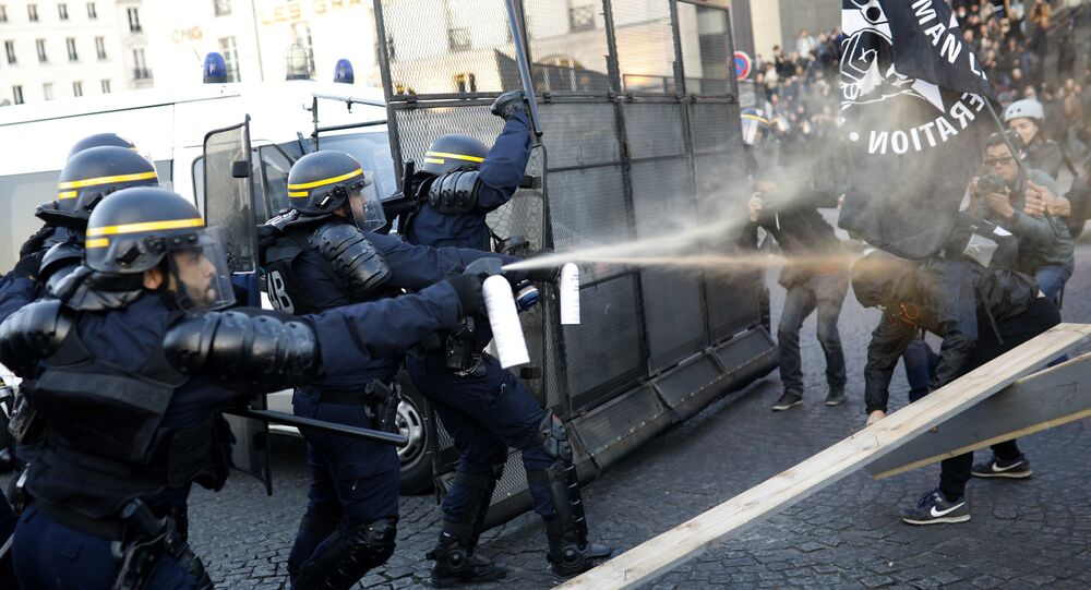 Police officers spray gas on demonstrators during a protest in Paris